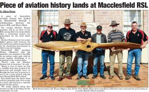 The refurbishment of the Hawker Demon Propeller rated a write-up in the local newspaper.