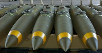 Mk 82 500lb bombs ready for loading on a RAAF flightline. Photo by Leading Aircraftman Steve Duncan.