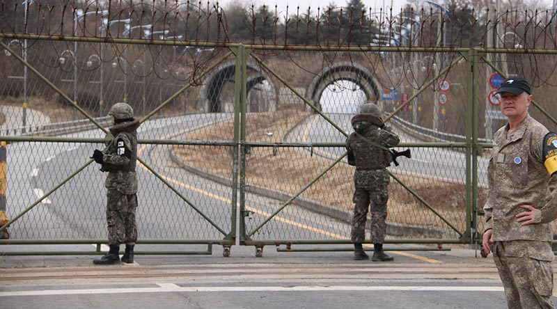 A member of the New Zealand Defence Force at the militarised border between North and South Korea. NZDF photo.