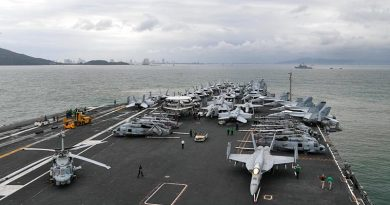 USS Theodore Roosevelt in Da Nang (5 March 2020) to commemorate the 25th anniversary of US/Vietnam diplomatic relations. Photo from USS Theodore Roosevelt Facebook page.