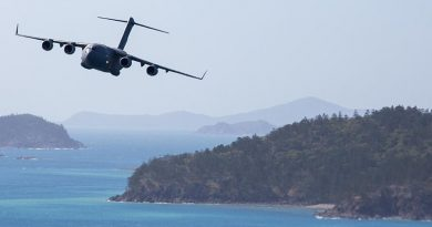 A C-17A Globemaster III conducts low-level flying along the Queensland coast. Photo by Corporal Nicci Freeman.