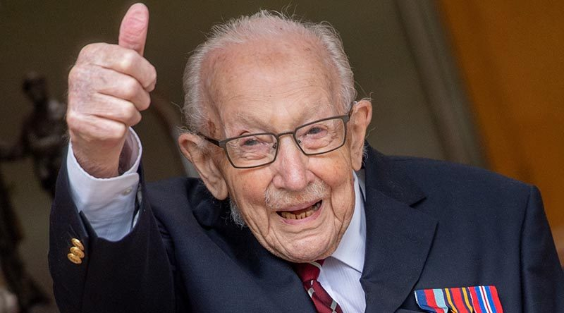 Soon-to-be Captain Sir Thomas Moore celebrating on his 100th birthday. Photo by Corporal Robert Weideman, copyright UK MoD 2020.