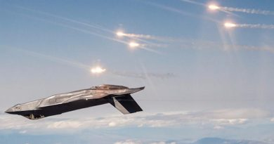 An F-35 prototype releases infrared countermeasure flares during test flights near Edwards AFB. Lockheed Martin photo.