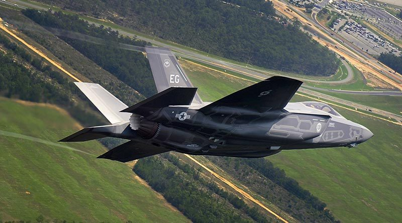 An F-35 set up for landing at Eglin Air Force Base, Florida. US Air Force photo by Staff Sergeant Joely Santiago.