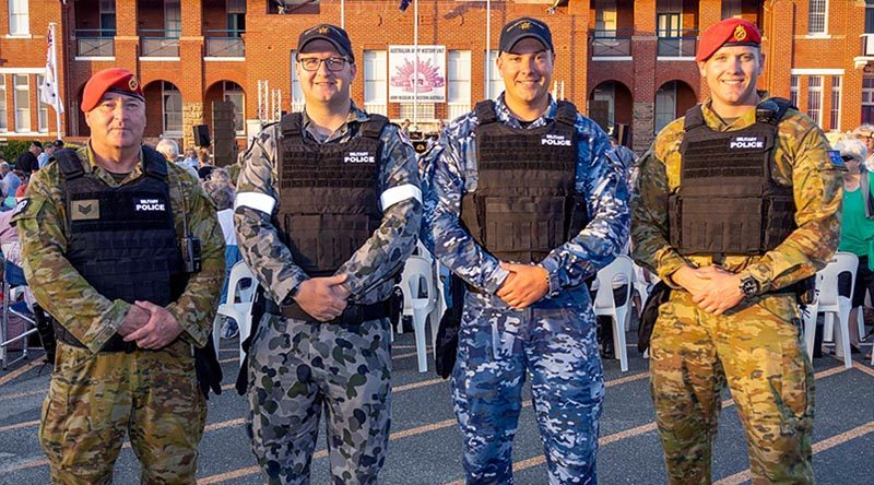 Sergeant Dean Jennings, Leading Seaman Rowan Campbell, Corporal Istvan Gonda and Corporal Dylan Stanley from Joint Military Police Station - Perth at the Sunset Military Spectacular at the Australian Army Museum of Western Australia in Fremantle. Photo by Leading Seaman Ernesto Sanchez.