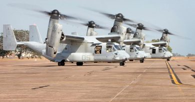 United States Marine Corps MV-22 Ospreys at RAAF Base Darwin. Photo by Leading Seaman James Whittle.