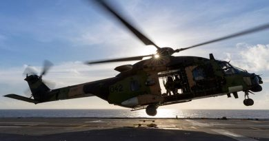 An MRH-90 maritime support helicopter on HMAS Canberra. Photo by Leading Seaman Jake Badior.
