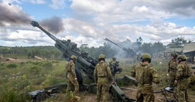 Australian Army soldiers from the 1st Regiment, Royal Australian Artillery, firing their M777A1 155mm Howitzers during Exercise Barce II at Wide Bay Training Area, Queensland. Photo by Trooper Jonathan Goedhart.