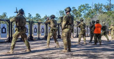 Soldiers of 8th/9th Battalion, Royal Australian Regiment, maintain their marksmanship skills at the shooting range after changes to COVID-19 restrictions at Greenbank Training Area, Queensland. Photo by Trooper Jonathan Goedhart.
