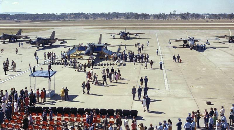 The arrival of the F-111 aircraft at RAAF Base Amberley in June 1973.