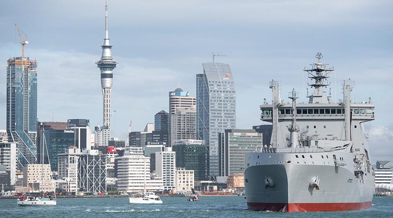 Aotearoa sails into Auckland Harbour for the first time. Photo from NZDF Facebook page.
