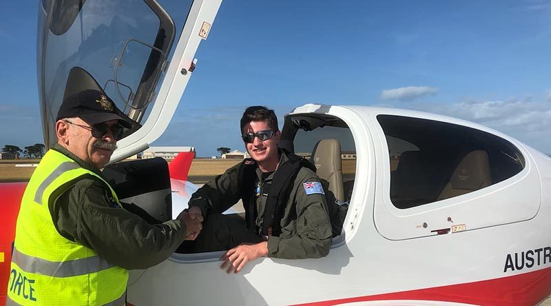 Leading Cadet Luke Gould from 403 Squadron is congratulated by his instructor SQNLDR Gary Presneill, EFTS Head of Operations following his first solo flight in the Diamond DA40 NG on 18 April 2019. Photo supplied by the Elementary Flying Training School, Point Cook.