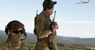 Combat Controllers from No. 4 Squadron based at RAAF Base Williamtown communicate coordinates for an incoming aircraft during Exercise Havoc Strike. Photo by Sergeant Brett Sherriff.