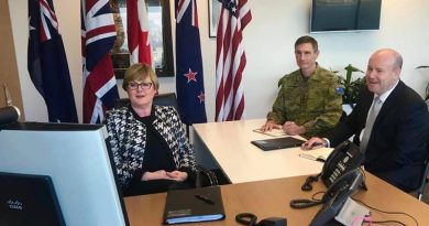 Minister for Defence Linda Reynolds, Chief of Defence Forces General Angus Campbell and Defence Secretary Greg Moriarty talk to their counterparts in the Five Eyes countries.