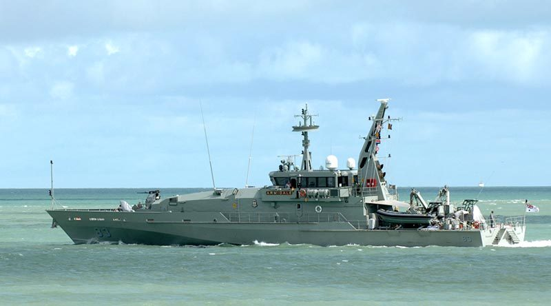 HMAS Armidale leaves Darwin Harbour. Photo by Able Seaman Helen Frank.
