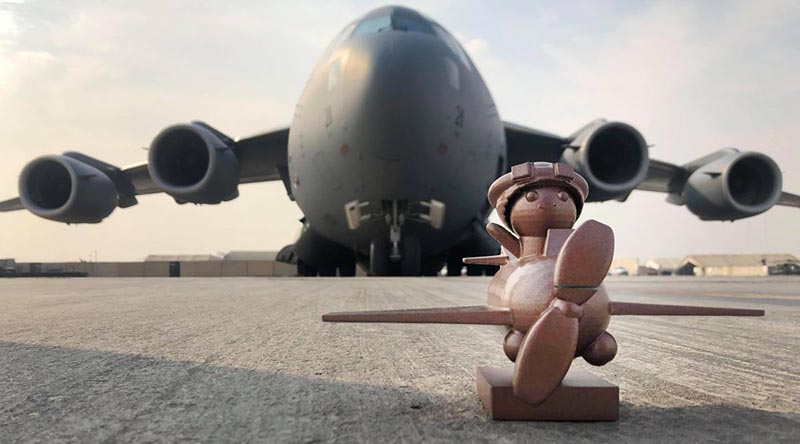 Marmaduke and his ride – a C-17A Globemaster III.