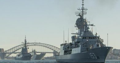 HMAS Stuart leads HMA Ships Hobart and Canberra out of Sydney Harbour as seven Aussie warships depart head to sea. Photo by Able Seaman Benjamin Ricketts.