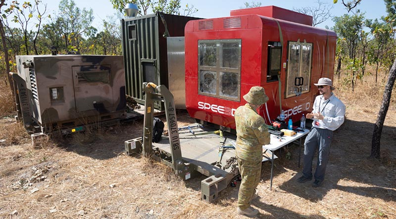 A WarpSPEE3D 3D printer deployed at Mount Bundey Training Area, NT. Photo by Petty Officer Peter Thompson.