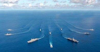 HMAS Toowoomba, HMAS Collins, USS William P. Lawrence, French ships Charles de Gaulle, Provence, Forbin, Latouche-Tréville, Marne and JFDF ships Izumo and Murasame in the Bay of Bengal during Exercise La Perouse 2019. Photo by Clarisse Dupont, Service d'Information et de Rela.