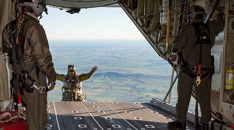 An Air Force Combat Controller, from No.4 Squadron, jumps off the ramp of a C-130J Hercules for a training mission during Exercise Havoc Drop. Photo by Corporal Dan Pinhorn.