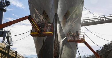 Defence contractors conduct maintenance on HMAS Parramatta during her refit in the Captain Cook Graving Dock at Garden Island, Sydney. Photo by Leading Seaman Leo Baumgartner.
