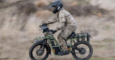 The New Zealand Defence Force has begun trialling electric utility bikes at Waiouru to determine their suitability for military use. NZDF photo.