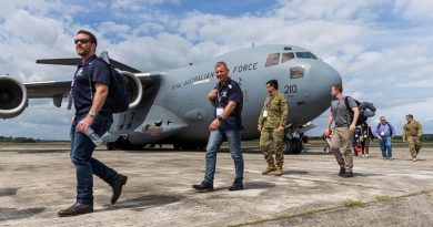 ADF reservists disembark a C-17A Globemaster from No. 36 Squadron in Malaysia, as part of Exercise Boss Lift 2019. Photo by Corporal Kyle Genner.