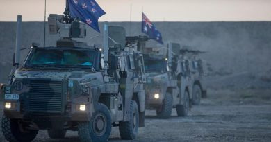 Bushmasters line up for a range practice at the Taji Military Complex, Iraq. Photo by Specialist Caroline Schofer.
