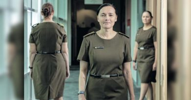 WO2 Megan White, left, Col Melanie Cochbain and Maj Tegan Musumeci wearing the new Army uniform. Photo by Corporal Sagi Biderman.