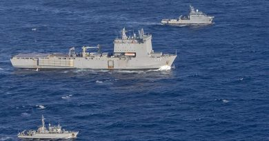 HMAS Choules, centre, and HMAS Huon, bottom, rendezvous with French Navy Ship d'Entrecasteaux during the Australian ships' transit to Vanuatu. Photo by Leading Seaman James McDougall.