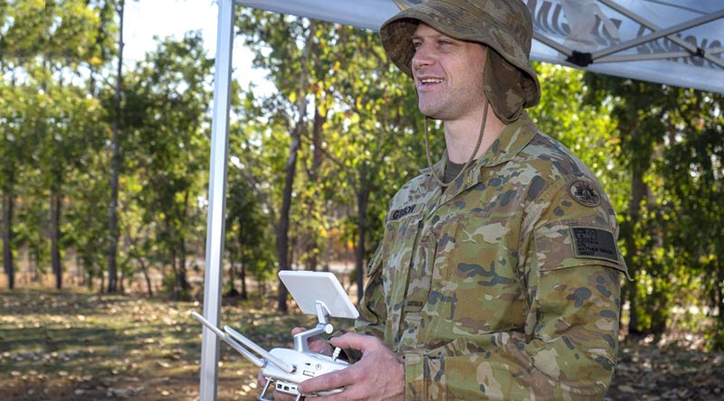Craftsman Matthew Gibson, 1st Combat Signal Regiment, controls a multi-rotor unmanned aerial system during a drone-pilot course at Robertson Barracks, NT. Photo by Warrant Officer Class 2 David Millard.
