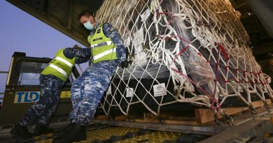 Royal Australian Air Force Air Movements Operator Corporal Adam Fraser from No. 23 Squadron, loads personal protective equipment destined for Indonesia on to a No. 37 Squadron C-130J Hercules at RAAF Base Amberley. Photo by Corporal Colin Dadd.