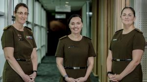 Warrant Officer Class Two Megan White, Colonel Melanie Cochbain and Major Tegan Musumeci in the new Army general duty uniform at Russell Offices in Canberra. New image published in mid October with no explanation. Photo by Corporal Sagi Biderman (July 2020).