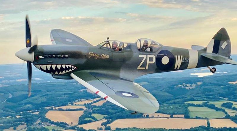 A restored Supermarine Spitfire bearing the number of Australia's No 457 Squadron flying once again in British skies. Photo courtesy Biggin Hill Heritage Hangar Facebook page.