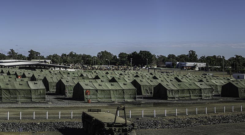 Tent city at Camp Rocky set up for Exercise Talisman Sabre 2019. Photo by Corporal Sean Spivey.