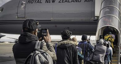 Seasonal workers board a Royal New Zealand Air Force Boeing 757 at the RNZAF air movements terminal at Christchurch International Airport, bound for Port Vila in Vanuatu. NZDF photo.