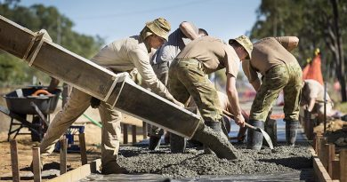 Australian Army engineers pour concrete. Photo by Sergeant Janine Fabre.