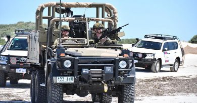 A Regional Force Surveillance Group vehicle leads a patrol on Western Australia's mid coast. Australian Border Force photo.