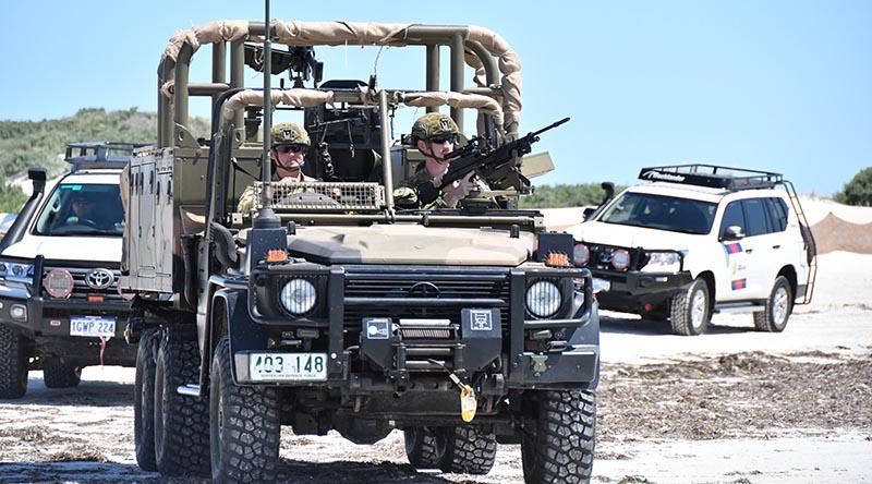 A Regional Force Surveillance Group vehicle leads a patrol on Western Australia's mid coast. Australian Border Force photo.
