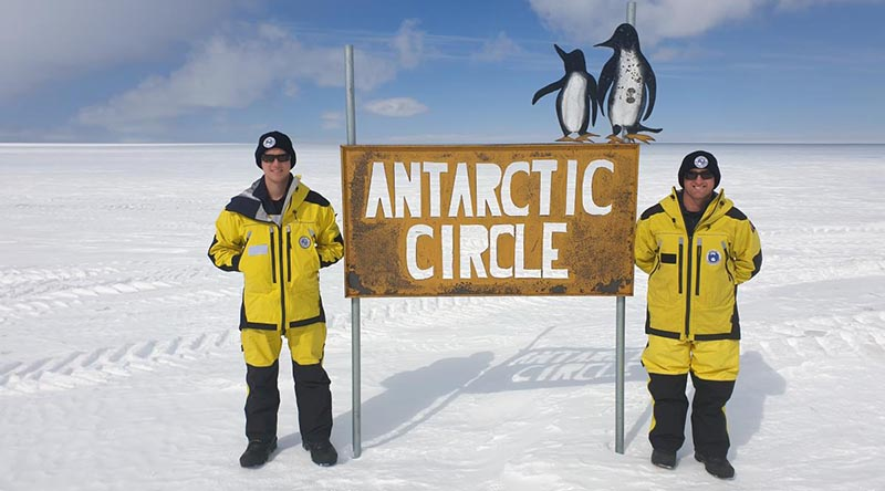 Lance Corporal Stewart Cox, left, and Sapper Luke Carey on Operation Southern Discovery in Antarctica.