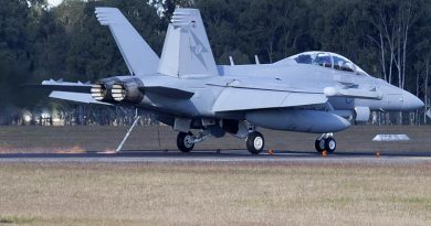 ARAAF E/A-18G Growler from No 6 Squadron takes the arrestor cable at RAAF Base Amberley during Exercise alisman Saber 17. Photo by Sergeant Peter Borys.