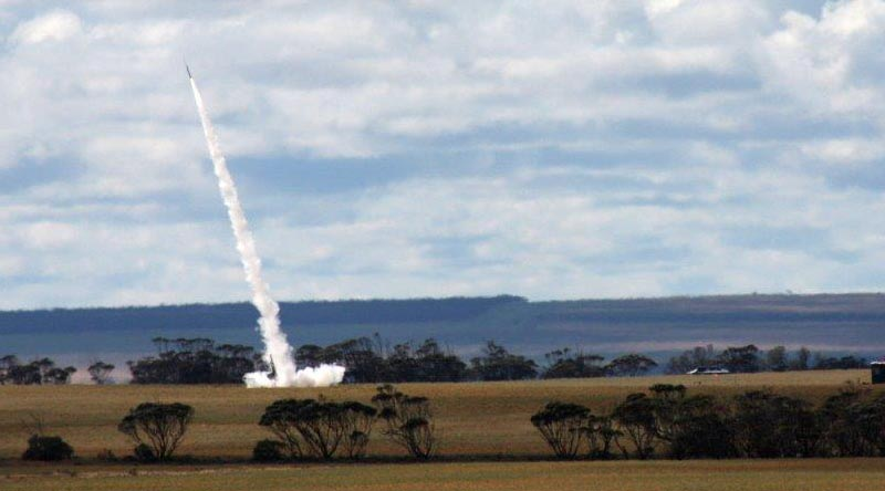 A DART rocket carrying a Royal Australian Air Force payload takes off from Koonibba Rocket Range in South Australia. Photo by Sean Jorgensen-Day.