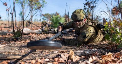 Sapper Lewis Coulter sweeps for mines during the 1st Combat Engineer Regiment Commanding Officers' Challenge held at Robertson Barracks, Northern Territory. Photo by Private Rodrigo Villablanca.
