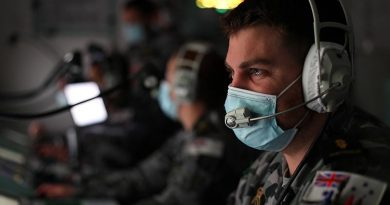 HMAS Anzac sailor Able Seaman Curtis Willmore monitors his console in the operations room of the frigate simulator at HMAS Stirling, Western Australia, during Exercise Viking Raider. Photo by Leading Seaman Ronnie Baltoft.