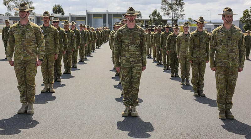 Force Support Element– 13 personnel on the 9th Force Support Battalion Parade Ground during their farewell parade at RAAF Base Amberley. Phot by corporal Nicci Freeman.