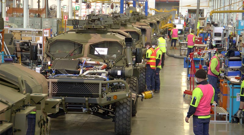 Australian-designed Hawkei protected mobility vehicles on the production line at the Thales facility in Bendigo, Victoria. Thales photo.