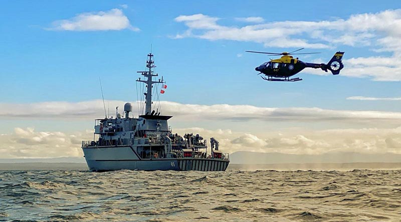 HMAS Gascoyne at sea conducting aviation operations during her unit readiness evaluation off the coast of NSW. Photo by Leading Seaman Dragan Ivanovic.