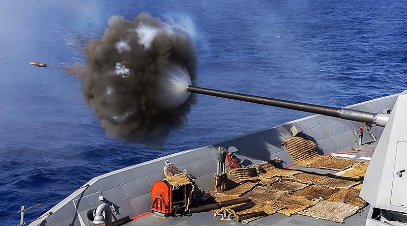 HMAS Hobart conducts a live-fire training exercise with the five-inch gun during Regional Presence Deployment 2020. Photo by Leading Seaman Christopher Szumlanski.