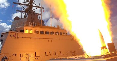 HMAS Hobart fires an SM2 missile. Photo by Chief Petty Officer Cameron Martin.