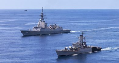 HMAS Hobart joins Indian Navy Ship Karmuk to conduct passage exercises in the north-east Indian Ocean. Photo by Leading Seaman Christopher Szumlanski.